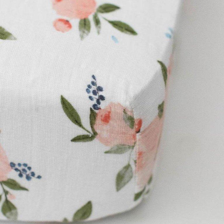 Sábana bajera para cuna Watercolor Roses - Little Unicorn