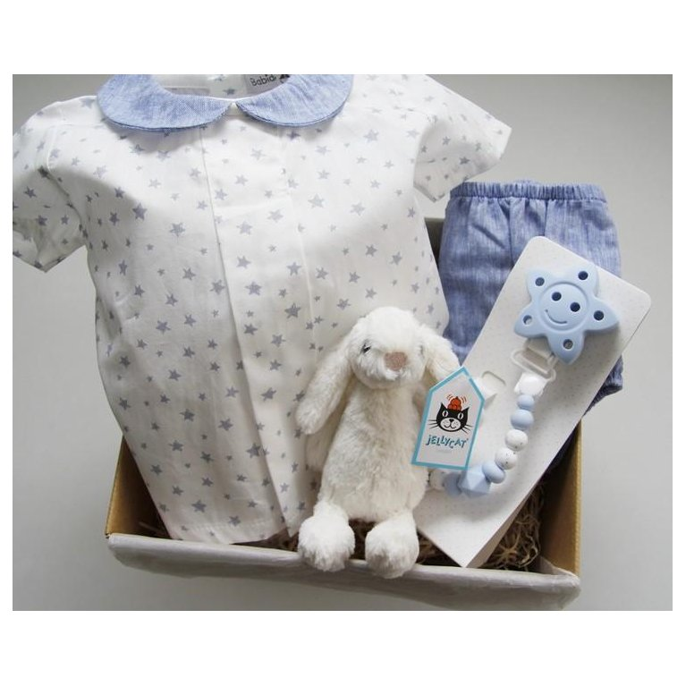 Cesta regalo conjunto bebé azul