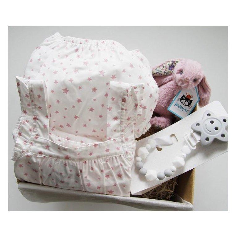 Cesta regalo bebé con vestido estrellas rosas