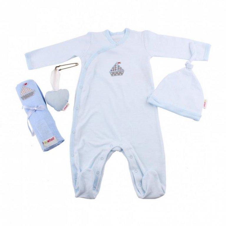 Cesta bebé con ropa Primera puesta Azul