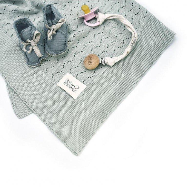 Manta bebé punto tricot - Babyshower