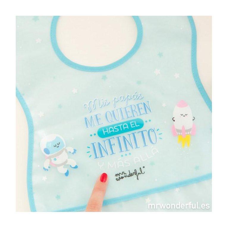 """Pack 2 baberos bebé - """"Mis papás me quieren hasta el infinito"""" - Mr. Wonderful"""