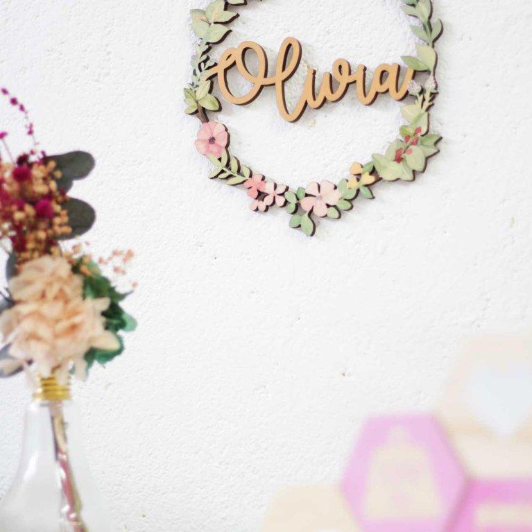 Corona de flores personalizada