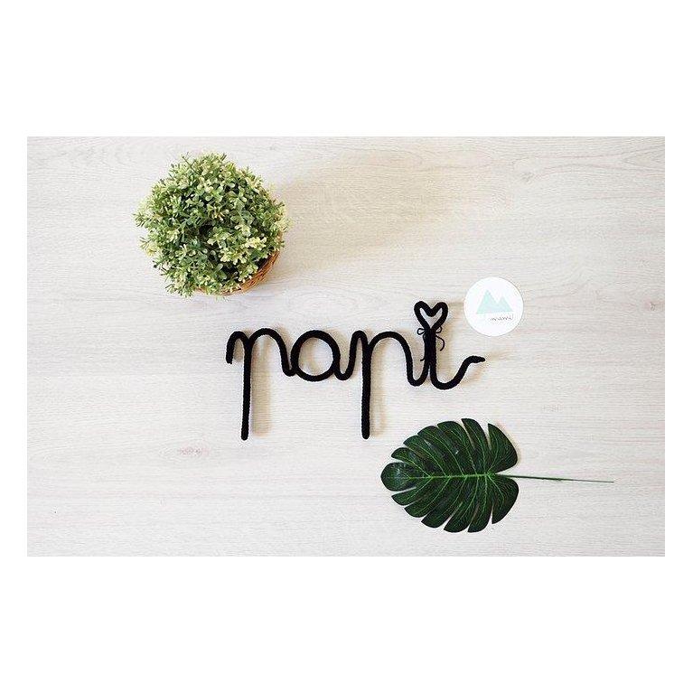 """Decoración - palabra """"mami""""/""""papi"""" tejida"""