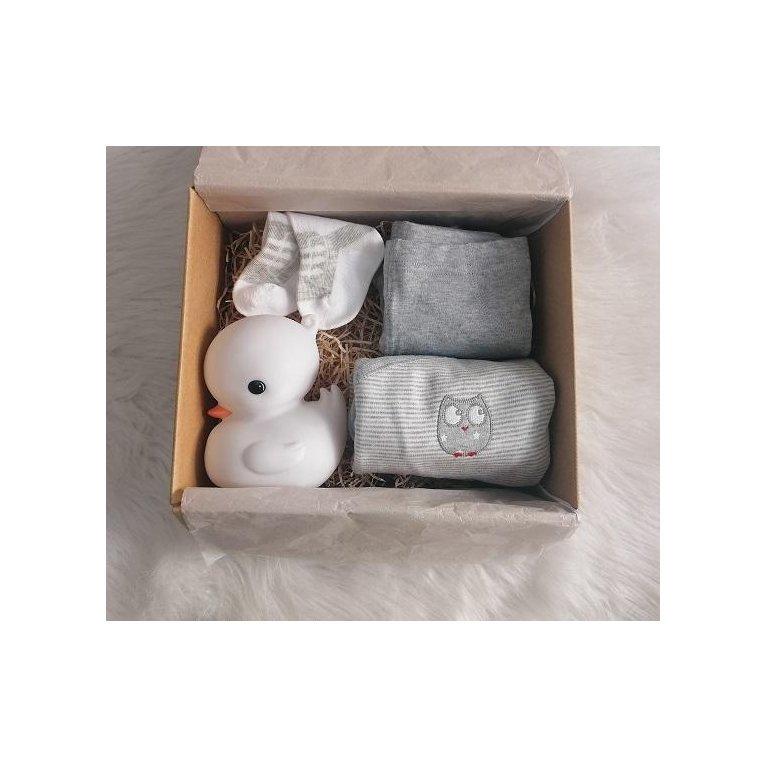 Cesta regalo bebé con ropa primera puesta gris