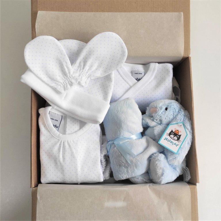 Cesta regalo bebé Primera puesta Azul
