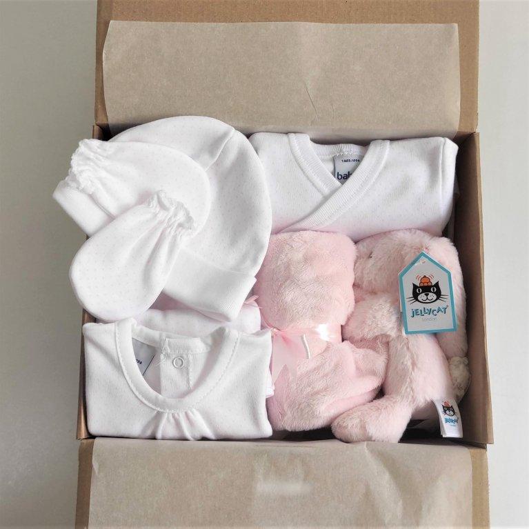Cesta regalo bebé primera puesta Rosa