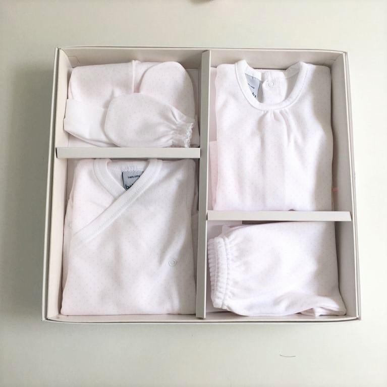 Pack nacimiento primera puesta bebé puntitos rosa - Babidú