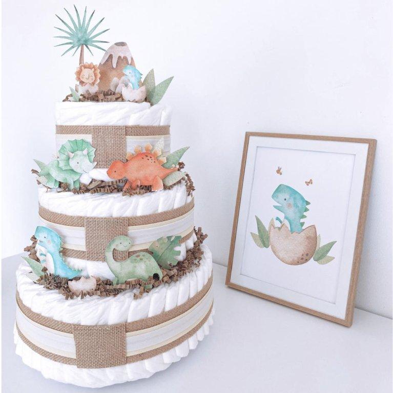 Tarta de pañales Dino Cake