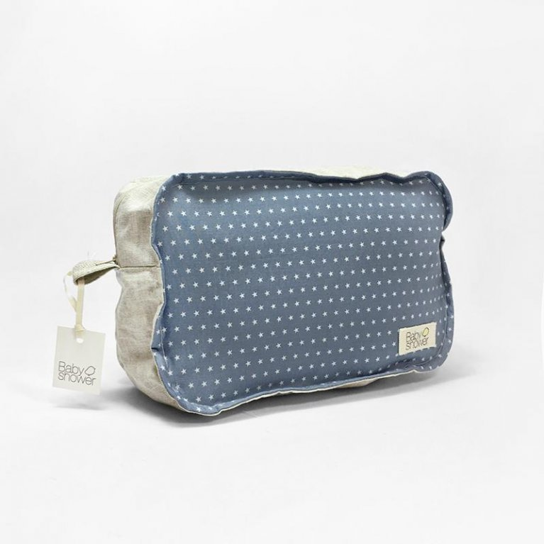 Neceser de viaje en lino azul con estrellitas - Babyshower