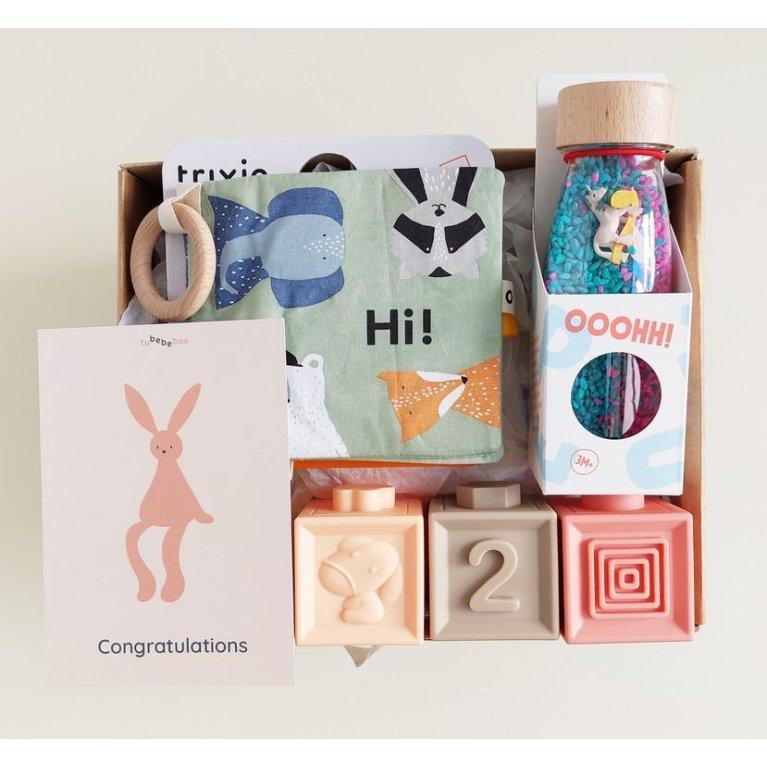 Cesta regalo para bebé juguetes sensoriales