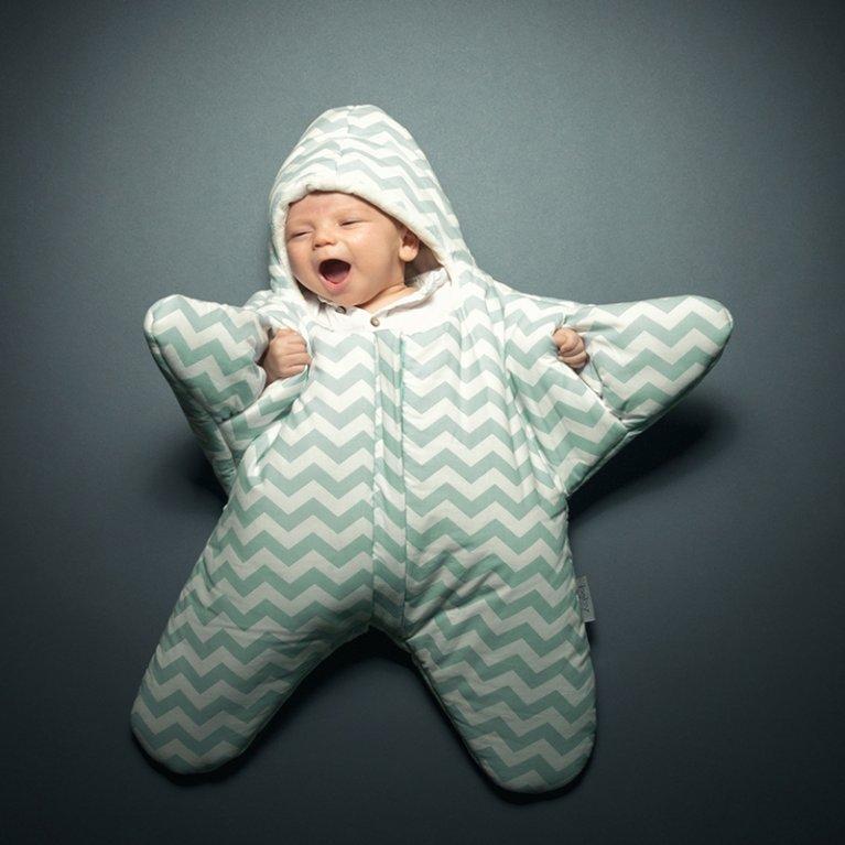 Saco de dormir para bebé Baby Bites Estrella Chevron Menta