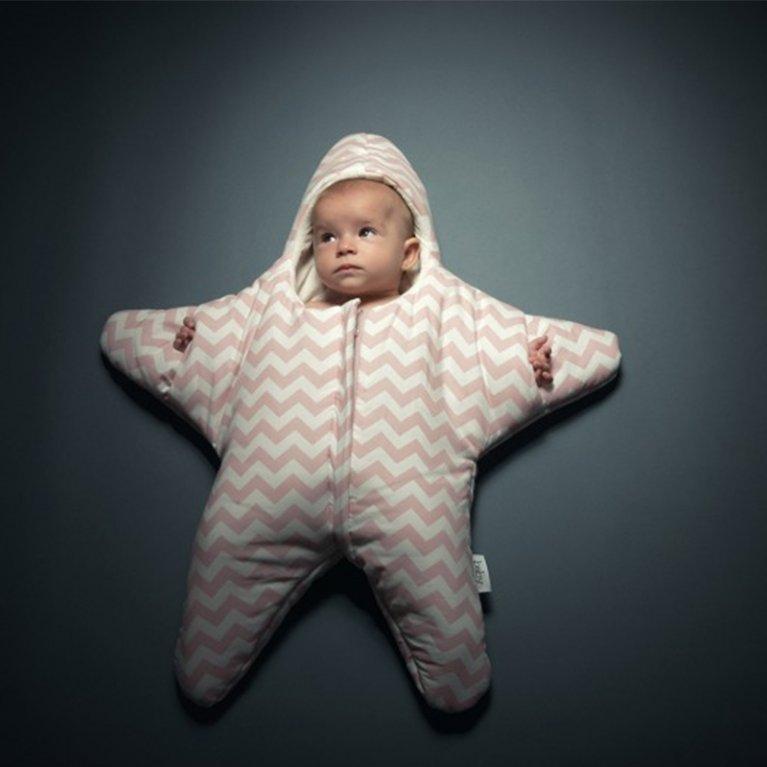 Saco de dormir para bebé Baby Bites Estrella Chevron Rosa