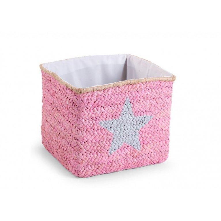 Cesta de almacenaje tejida rosa - Childhome