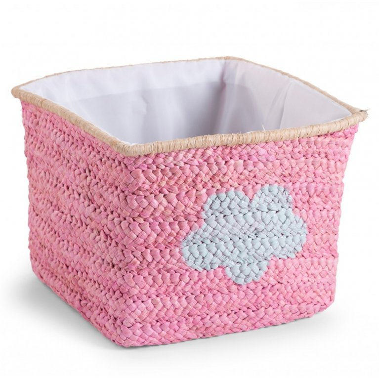 Cesta de almacenaje tejida rosa y nube - Childhome