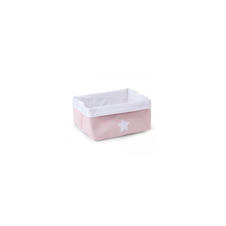 Cesta rectangular con estrella - Rosa y blanco