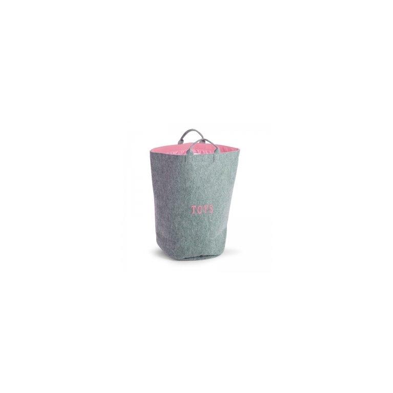 Cesta para recoger juguetes rosa y gris