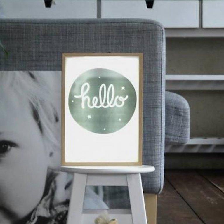 Poster hello para caja de luz