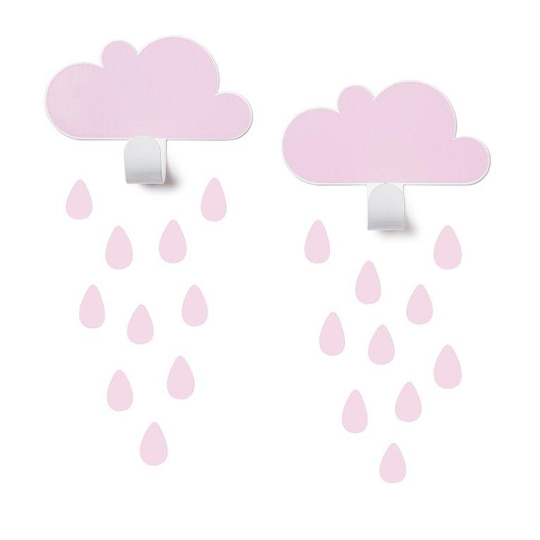 2 colgadores en forma de nubes con adhesivos Tresxics