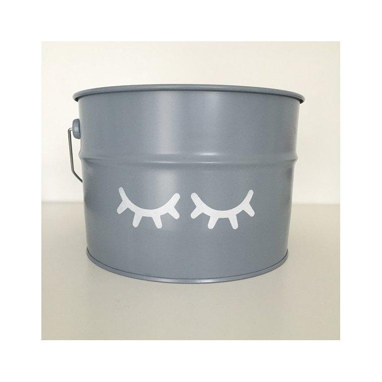 Bote gris para guardar juguetes con ojitos - Destino Isla