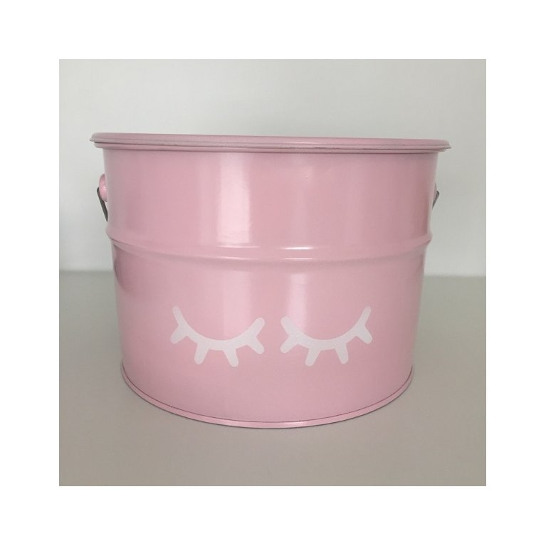 Bote rosa para guardar juguetes con ojitos - Destino Isla