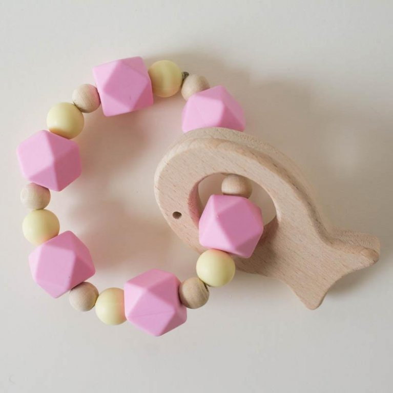 Mordedor de madera y silicona para bebés